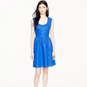 J. Crew Cap Sleeve Linen Dress Fit and Flare Blue